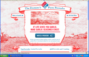 Domino's pizza proverbs promotion